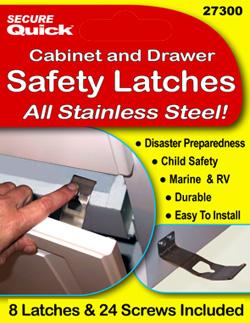 Cabinet safety latches for safety proofing, earthquake and disaster safety