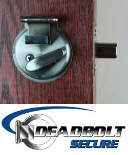 Deadbolt Secure is a bump key and lock pick prevention device designed to provide added security to your home. Made of solid steel, installs with only a screw driver.