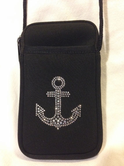 Pami Pocket Neoprene Cell Phone Purse with Rhinestone Anchor