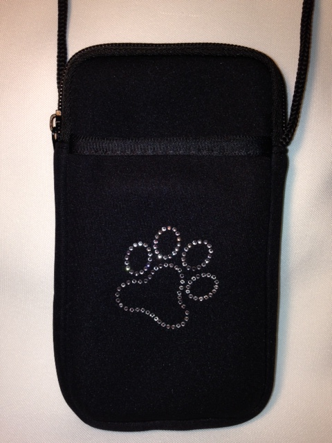 Pami Pocket Neoprene Cell Phone Purse with Rhinestone Paw-Print